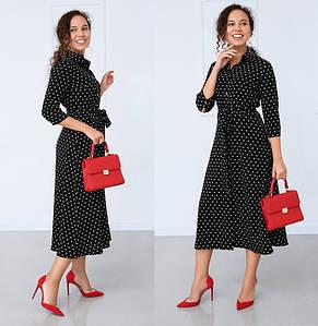 Платье женское ниже колено миди в горошек легкое летнее с поясом