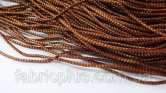 Шнур с люрексом 2,5 мм коричневый/золото плоский