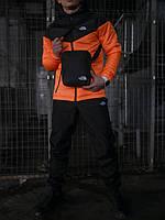 Костюм мужской The North Face Ветровка оранжевая- черная+Штаны черные+подарок Барсетка осенний / весенний