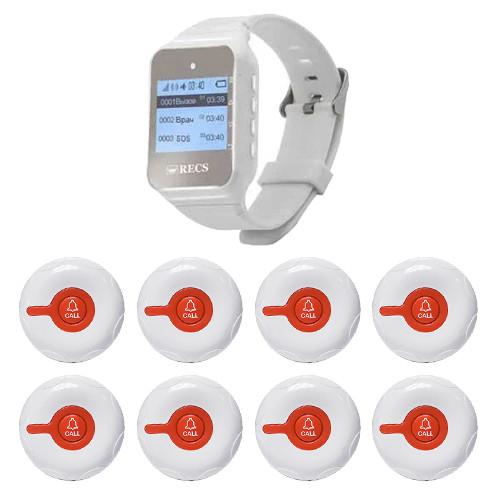 Система виклику медперсоналу RECS №38 | кнопки виклику медсестри 8 шт + пейджер персоналу