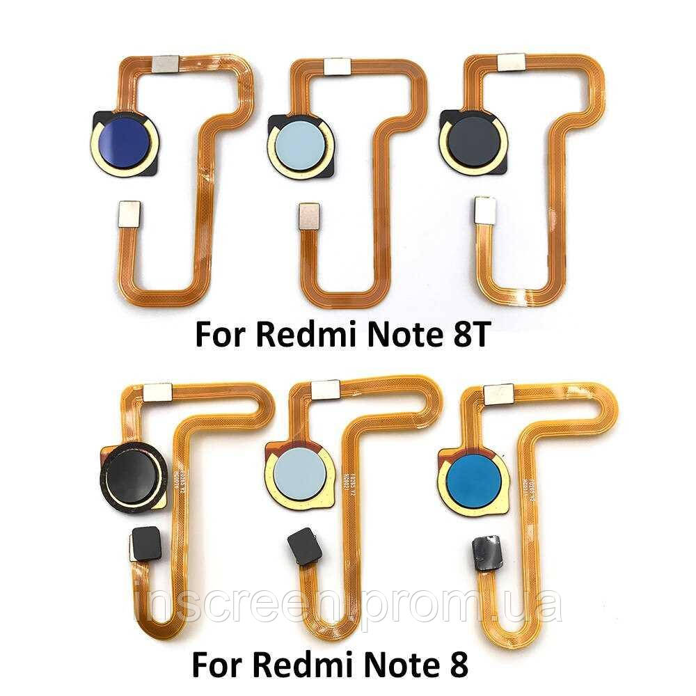 Шлейф (кабель) Xiaomi Redmi Note 8, Redmi Note 8T с сканером отпечатка пальца, черного цвета