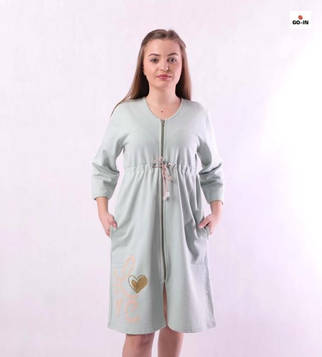Жіночий теплий халат на блискавці короткий начос оливковий, домашній халат р. 46-54