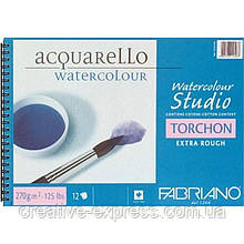 Альбом для акварелі на спіралі Watercolor Studio A4 (24х32см), 270г/м2, 12л, торшон, Fabriano