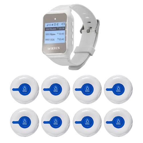Система виклику медперсоналу RECS №20 | кнопки виклику медсестри 8 шт + пейджер персоналу