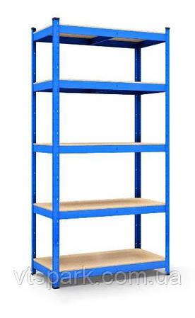 Стеллаж полочный 1800х900х300мм, 150кг, 5 полок с ДСП/МДФ крашеный для кладовки, балкона, гаража