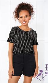 Женская блуза черная в белый горох короткий рукав