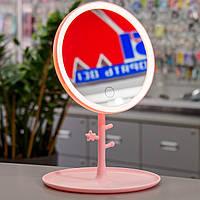 Зеркало с подсветкой для макияжа Selfie L2 LED Mirror Pink