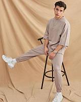 Крутий чоловічий літній бавовняний комплект штани і футболка оверсайз темно-бежевий