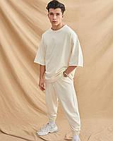 Спортивний чоловічий річний комплект футболка+джоггеры однотонний ясно-бежевий