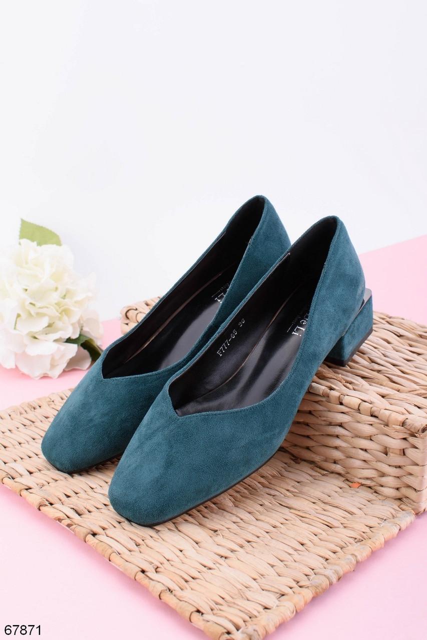 Женские туфли зеленые - изумрудные на каблуке 4 см эко- замш