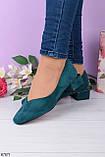 Женские туфли зеленые - изумрудные на каблуке 4 см эко- замш, фото 2