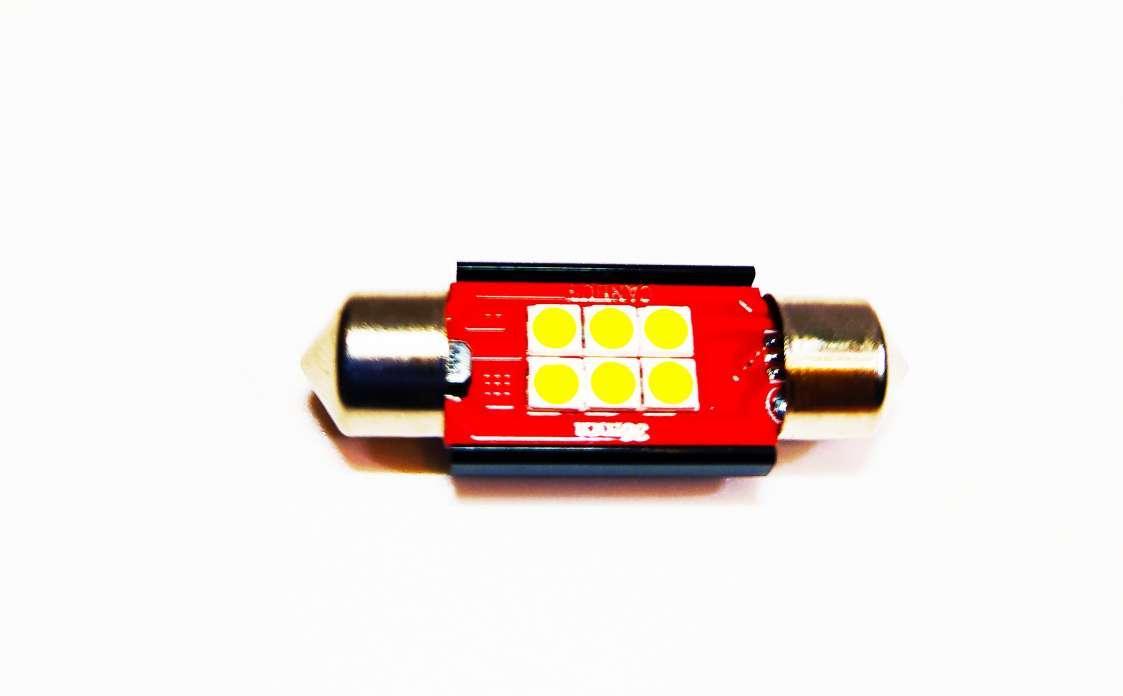 LED автолампи лід діодна T8, C5W, 6SMD, CANBUS, обманка, 36 мм білий