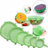 Набір силіконових кришок для посуду, колір зелений, 6 штук