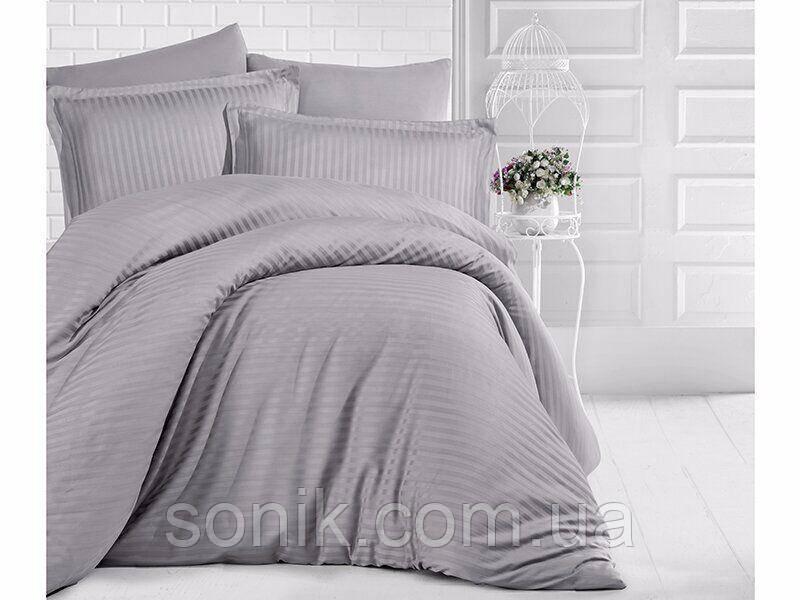 Комплект постельного белья страйп сатин серый 1*1   2,0сп