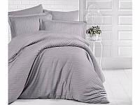 Комплект постельного белья страйп сатин серый 1*1   2,0сп, фото 1
