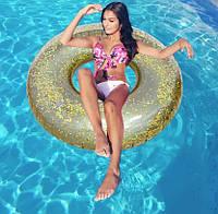 Надувной круг для плавания Intex  56274 (119 см) Прозрачный блеск (Золотой)