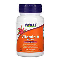 Витамин А (Vitamin A) 10 000 IU ТМ Нау Фудс / Now Foods 100 желатиновых капсул