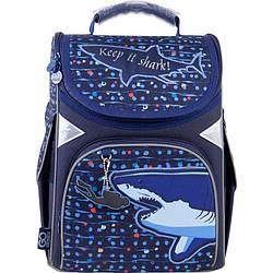 Рюкзак шкільний каркасний GoPack Education Shark Темно-Синій (GO21-5001S-9)