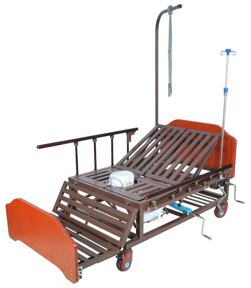 Ліжко механічна Е-45А Праймед з боковим перевертанням, туалетним пристроєм і функцією «кардиокресло»