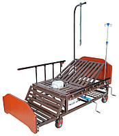 Ліжко механічна Е-45А Праймед з боковим перевертанням, туалетним пристроєм і функцією «кардиокресло», фото 1