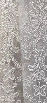 Кремовая короткая тюль с кордовой ниткой, высота 1,5м ( 3041-kr )