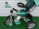 Дитячий триколісний велосипед-коляска CROSSER T 503 AIR WHEEL бірюзовий, фото 4