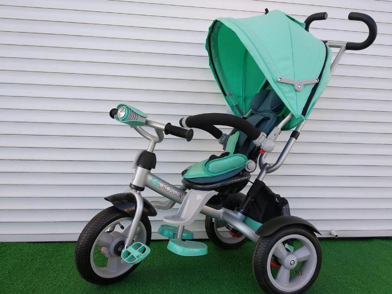 Дитячий триколісний велосипед-коляска CROSSER T 503 AIR WHEEL бірюзовий