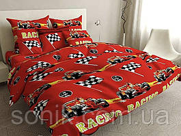 Комплект постельного белья Ралли тачки   Двуспальный   Бязь Gold Lux