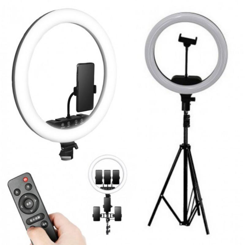 Кольцевая LED лампа K18-450CW 45см без штатива с держателем для телефона. Кольцевой свет для селфи и фото