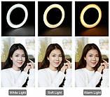 Кольцевая LED лампа K18-450CW 45см без штатива с держателем для телефона. Кольцевой свет для селфи и фото, фото 6