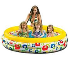 Дитячий надувний круглий басейн Intex для малюків «Геометрія» 58449 (розмір 168*38 см) (обсяг 581 л)