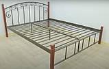 Металлическая кровать Афина на деревянных ножках, фото 5