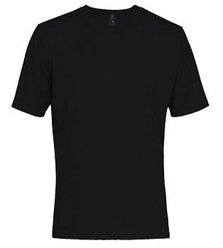 Футболка однотонная мужская, цвет черный, круглая горловина