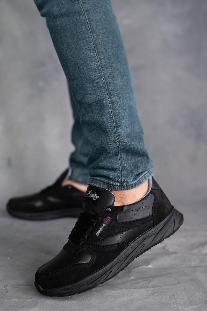 Мужские кроссовки кожаные весна/осень черные-нубук