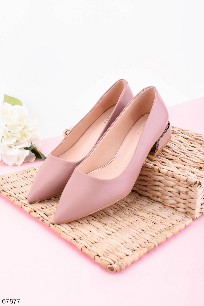 Женские туфли розовые- пудровые на каблуке 4 см эко кожа