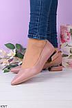 Женские туфли розовые- пудровые на каблуке 4 см эко кожа, фото 2