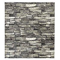 Стінова 3D панель самоклеюча Шпалери під декоративний камінь Самоклейка 3Д сірий 70*77 см 7мм