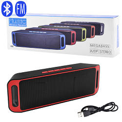 Портативная Bluetooth колонка  SC-208 c функцией speakerphone, радио цвет красный, черный, серый