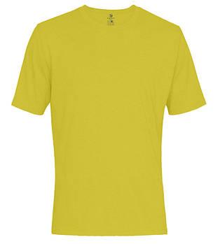 Футболка однотонна чоловіча, колір жовтий, кругла горловина