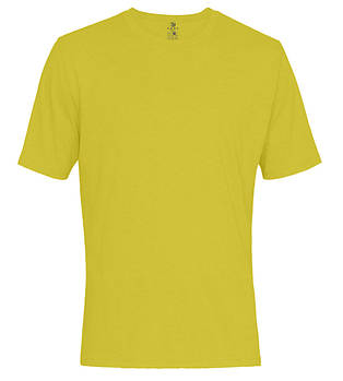 Футболка однотонная мужская, цвет желтый, круглая горловина
