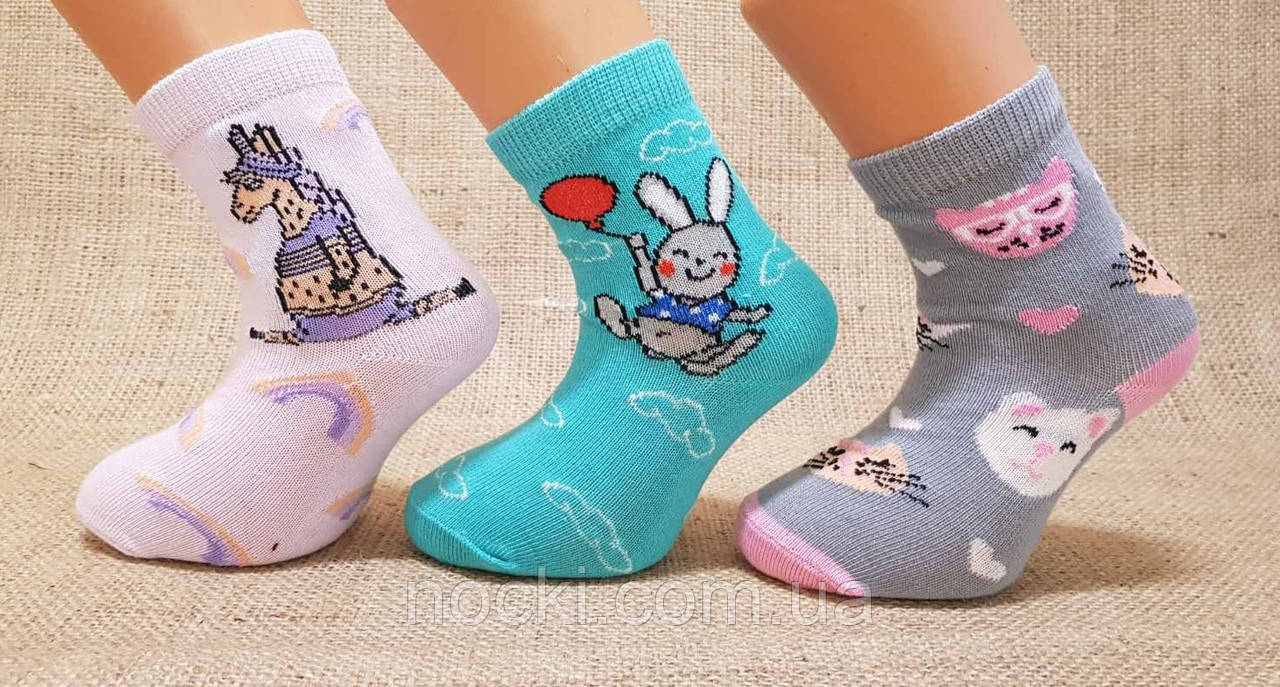 Детские носки средние с хлопка  для малышей Стиль люкс  16-18  682 зайчик,единорожка,кошка