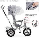 Детский трехколесный велосипед коляска с фарой и поворотным сиденьем Turbotrike 4058 серый, фото 2