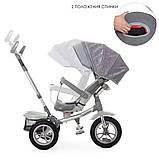 Детский трехколесный велосипед коляска с фарой и поворотным сиденьем Turbotrike 4058 серый, фото 3