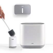 Набор для санузла MVM (бело-серый) (ершик - ведро - держатель для туалетной бумаги)