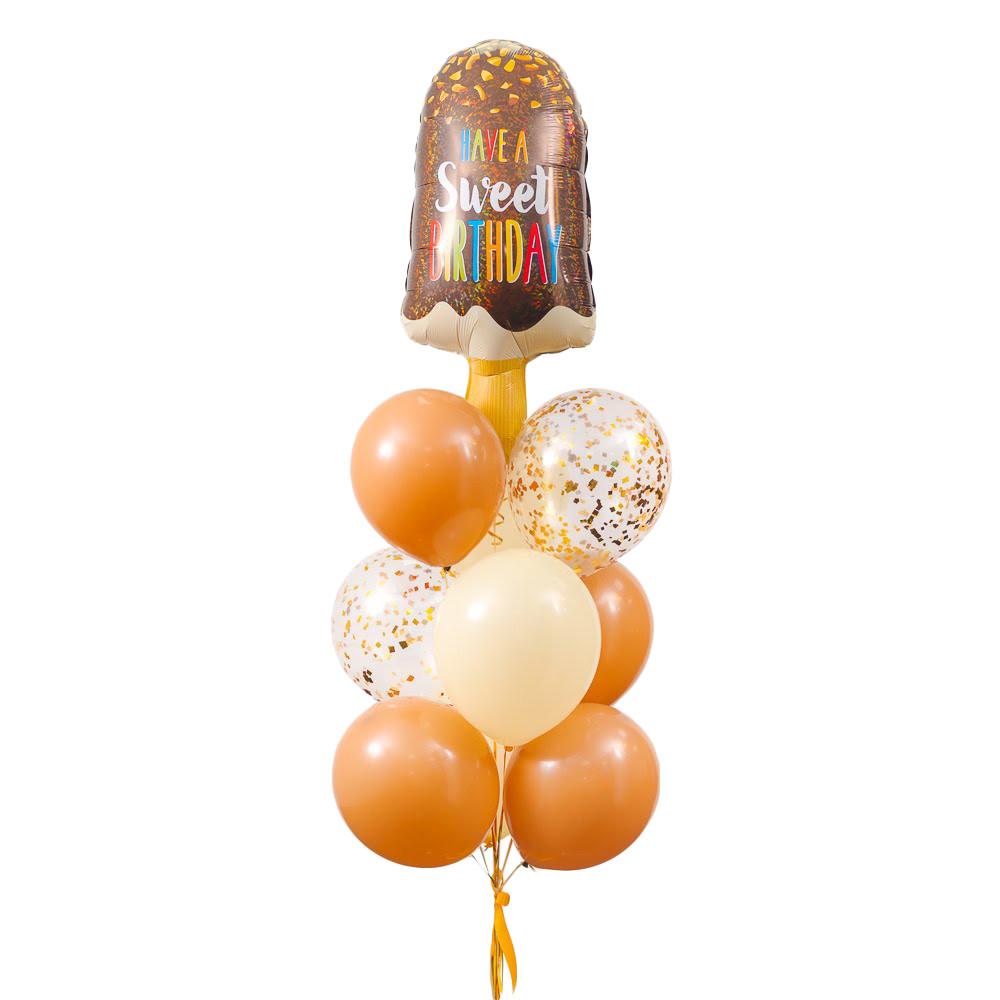 """Зв'язка повітряних кульок з морозивом """"Have a sweet birthday"""""""