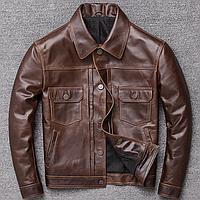 Мужская кожаная куртка коричневая. (01340)