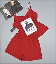 Пижама майка шорты с рисунком ТМ Este красная. Пижамы женские.