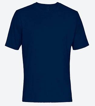 Футболка однотонна чоловіча, колір синій, кругла горловина