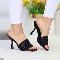 Роскошные фактурные черные женские шлепки шлепанцы на каблуке 38-24,5см