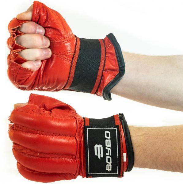 Шингарды (снарядные перчатки) кожа BoyBo L красные SF14-33-4